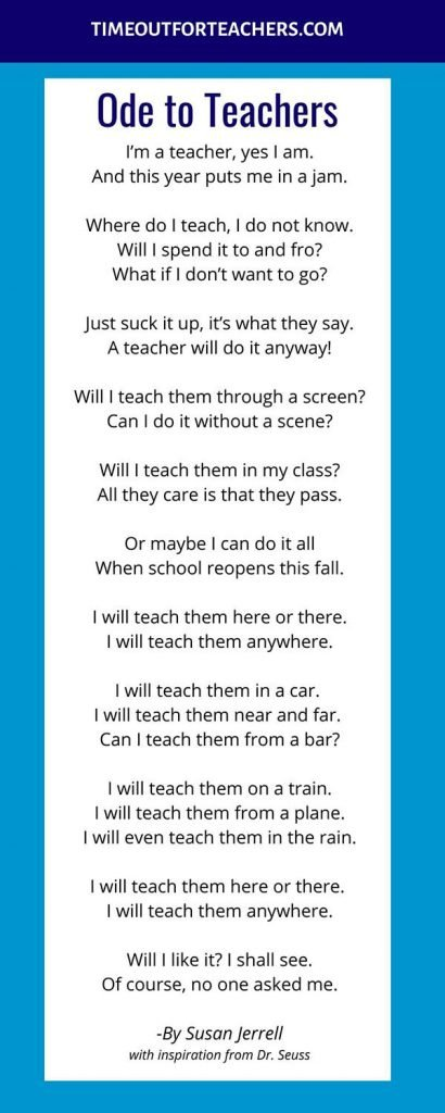 Ode to teachers, a poem inspired by Dr. Seuss